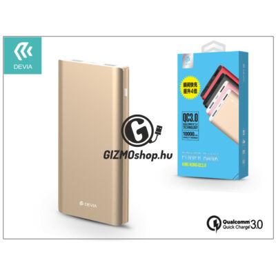 Univerzális hordozható, asztali akkumulátor töltő – Devia King Kong 2xUSB QC 3.0 Power Bank – 10.000 mAh – champagne gold