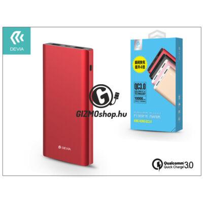 Univerzális hordozható, asztali akkumulátor töltő – Devia King Kong 2xUSB QC 3.0 Power Bank – 10.000 mAh – red