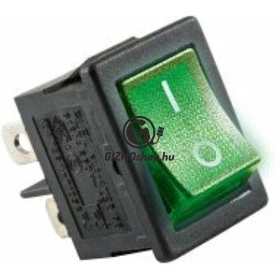 Világítós billenőkapcsoló, 250V, 2ák, zöld