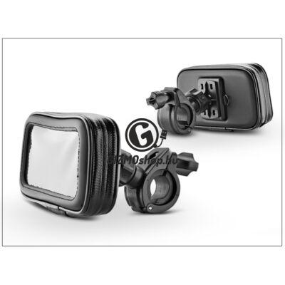 Univerzális kerékpárra/motorkerékpárra szerelhető, por- és cseppálló telefontartó – L méret – fekete (iPhone 5/5S/SE)