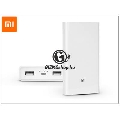 Univerzális hordozható, asztali akkumulátor töltő – Xiaomi Mi Power Bank QC 2.0 – 20.000 mAh – fehér
