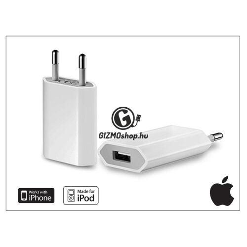 Apple iPhone 3G/3GS/4/4S/5/5S/5C/SE eredeti USB hálózati töltő – MD813ZM/A – 5V/1A – 5W (csomagolás nélküli)