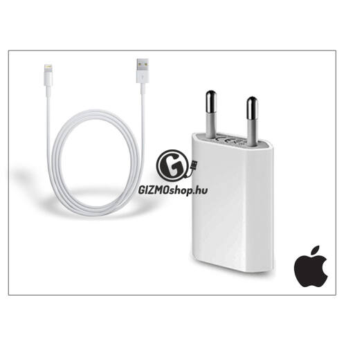 Apple iPhone 5/5S/5C/SE/6S/6S Plus USB hálózati töltő adapter + lightning adatkábel – MD813ZM/A + MD818ZM/A – 5V/1A (csomagolás nélküli)