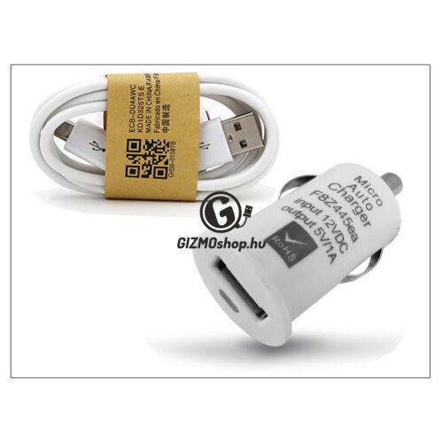 USB szivargyújtó töltő adapter + micro USB adatkábel – 5V/1A – fehér