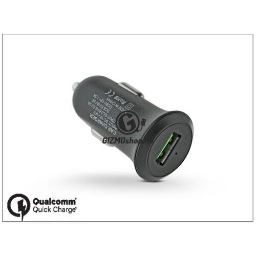 USB szivargyújtós töltő adapter – 5V/3A – Qualcomm Quick Charge 3.0 – black