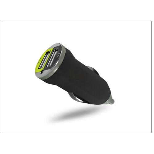 USB Dual micro szivargyújtó töltő adapter – 5V/1A+2,1A – fekete