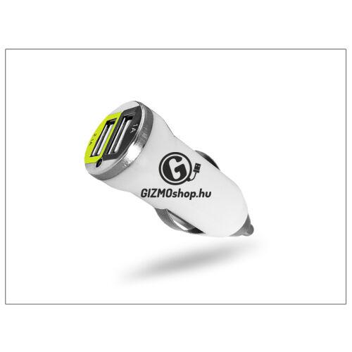 USB Dual micro szivargyújtó töltő adapter – 5V/1A+2,1A – fehér