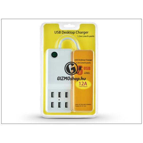 Univerzális USB hálózati töltő adapter 1,5 m kábellel – 6xUSB – 5V/12A – fehér