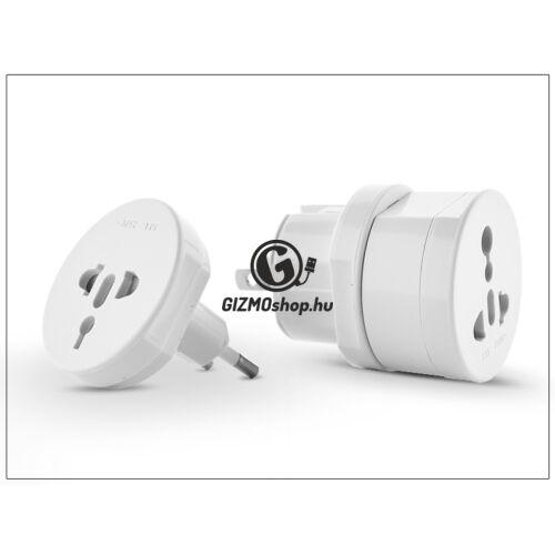 Univerzális hálózati töltő adapter nemzetközi utazáshoz – All in One International Adapter – fehér