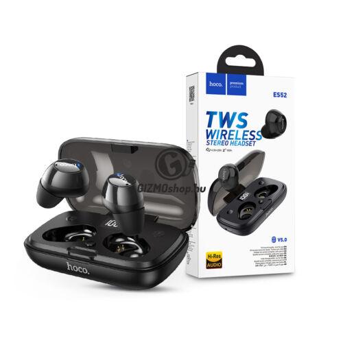 HOCO TWS Bluetooth sztereó headset v5.0 + töltőtok – HOCO ES52 True Wireless Stereo Headset with Charging Case – fekete