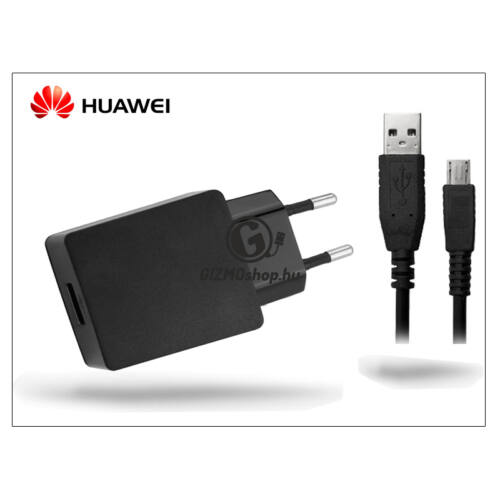 Huawei gyári USB hálózati töltő adapter + micro USB adatkábel – 5V/2A – HW-050200E3W + C02450768A black (csomagolás nélküli)