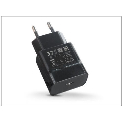 Huawei gyári USB hálózati töltő adapter Type-C bemenettel – 5V/3A – HW-050300E00 black (ECO csomagolás)