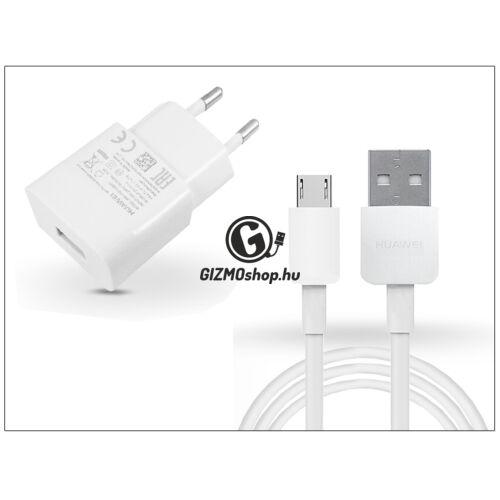 Huawei gyári USB hálózati töltő adapter + micro USB adatkábel – 5V/1A – HW-050100E01 + 2450768A white (ECO csomagolás)