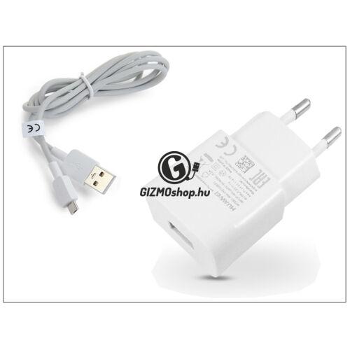 Huawei gyári USB hálózati töltő adapter + micro USB adatkábel 100 cm-es vezetékkel – 5V/1A – HW-050100E01 white (ECO csomagolás)