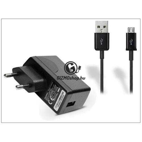 Huawei gyári USB hálózati töltő adapter + micro USB adatkábel 80 cm-es vezetékkel – 5V/1A – HW-050100E1W black (ECO csomagolás)