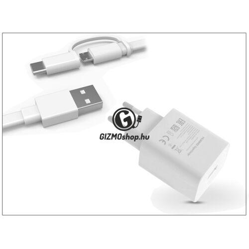 Huawei gyári USB hálózati töltő adapter + micro USB/Type-C adatkábel – 5V/2A- HW-050450E00 + AP55S Type-C 2.0 white (ECO csomagolás)