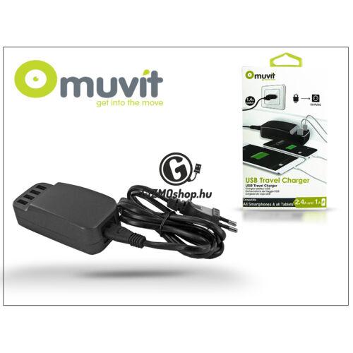 USB hálózati töltő adapter – Muvit 4xUSB Travel Charger – 5V/6,8A – black