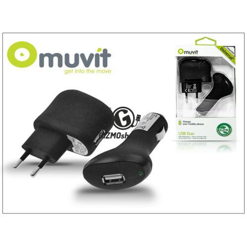 Muvit USB hálózati + szivagyújtó töltő adapter – Muvit USB Duo – 5V/1A – black