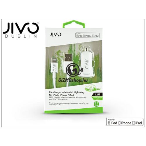 Apple iPhone 5/5S/5C/SE/iPad 4/iPad Mini Lightning szivargyújtó töltő adapter 1,2 m-es kábellel (Apple MFI engedélyes) – JIVO – 5V/2,1A – fehér
