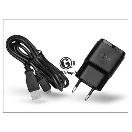 LG gyári USB hálózati töltő adapter + micro USB kábel – 5V/0,85A – MCS-02ER + DK-100M black (ECO csomagolás)