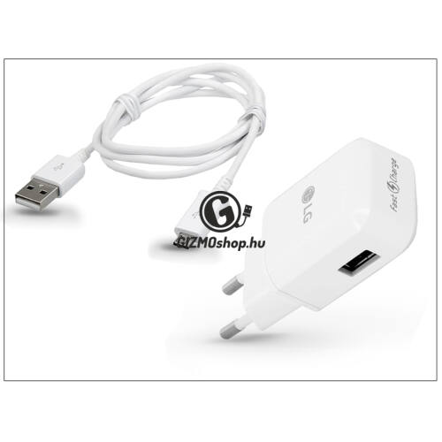 LG gyári USB hálózati töltő adapter + micro USB adatkábel – 5V/1,8A – MCS-05ER Fast Charge + EAD62329305 (ECO csomagolás)
