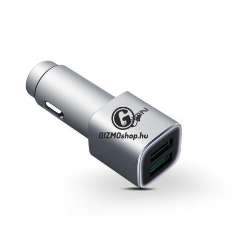 Nokia 2x USB gyári szivargyújtós gyorstöltő adapter – Quick Charge 3.0 – 5V/4,5A – DC-801 – silver