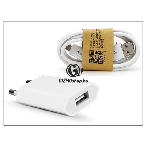 Univerzális USB hálózati töltő adapter + micro USB adatkábel – 5V/1A – white