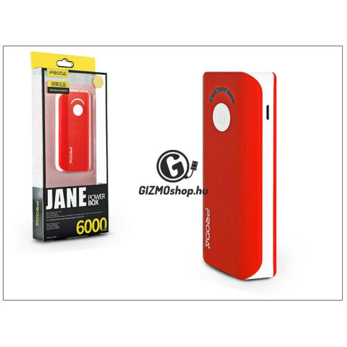 Univerzális hordozható, asztali akkumulátor töltő – Proda Jane Power Bank – 6000 mAh – piros/fehér