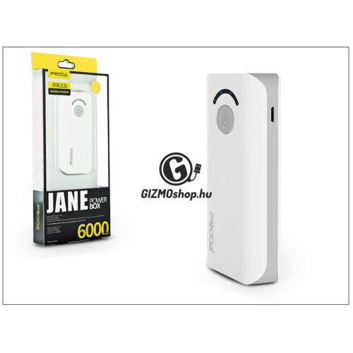 Univerzális hordozható, asztali akkumulátor töltő – Proda Jane Power Bank – 6000 mAh – fehér/szürke