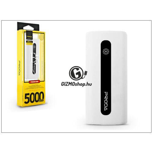 Univerzális hordozható, asztali akkumulátor töltő – Proda E5 Power Bank – 5000 mAh – fehér