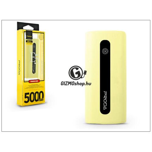 Univerzális hordozható, asztali akkumulátor töltő – Proda E5 Power Bank – 5000 mAh – sárga