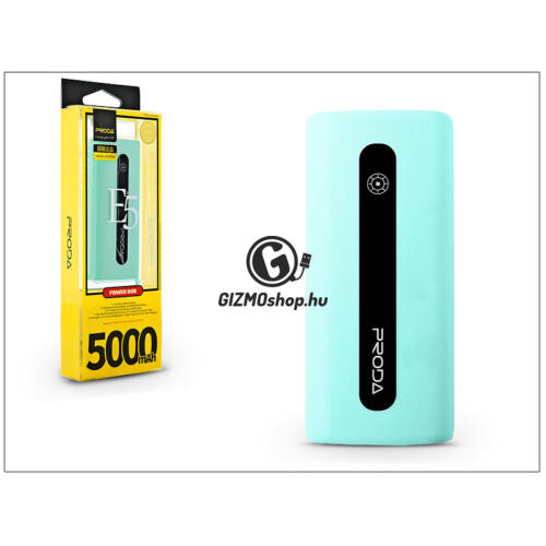 Univerzális hordozható, asztali akkumulátor töltő – Proda E5 Power Bank – 5000 mAh – kék