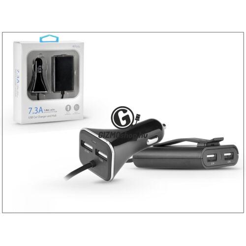 Szivargyújtó töltő + USB elosztó HUB 4xUSB csatlakozóval, 1,8 m-es vezetékkel – 5V/7.3A – black