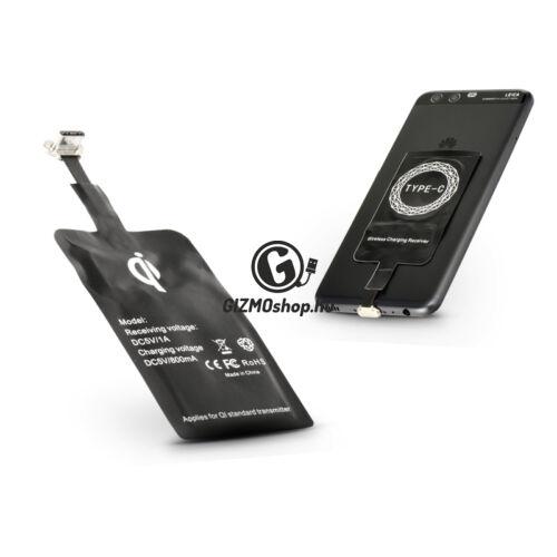 USB Type-C Qi adapter vezeték nélküli töltő állomáshoz – fekete