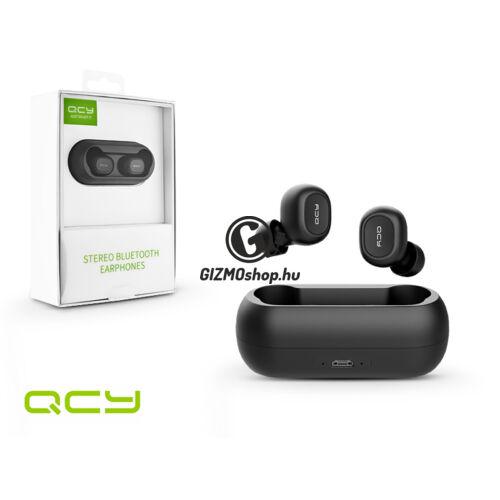 QCY Wireless Bluetooth sztereó headset v5.0 + töltő dokkoló – QCY T1C Bluetooth Earphones – black