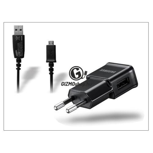Samsung gyári USB hálózati töltő adapter + micro USB adatkábel – 5V/1A – ETA0U81EBE black (csomagolás nélküli/enyhén karcos)