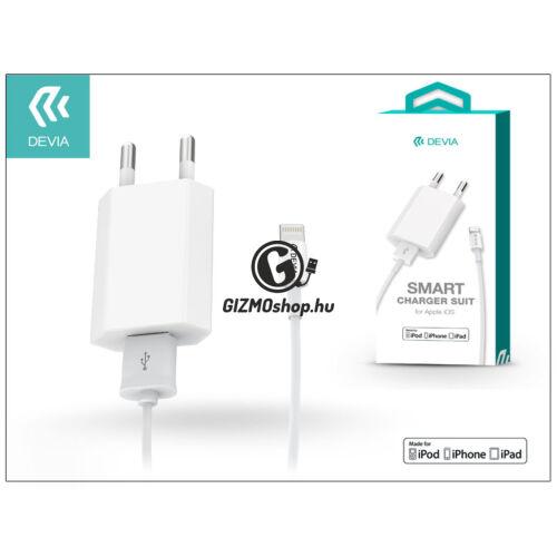 Apple iPhone 5/5S/5C/SE/6S/6S Plus USB hálózati töltő adapter + lightning adatkábel (MFI engedélyes) – 5V/1A – Devia Smart Charger Suit – white
