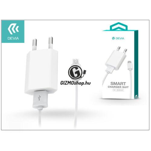 Univerzális USB hálózati töltő adapter + micro USB adatkábel 1 m-es vezetékkel – 5V/1A – Devia Smart Charger Suit – white