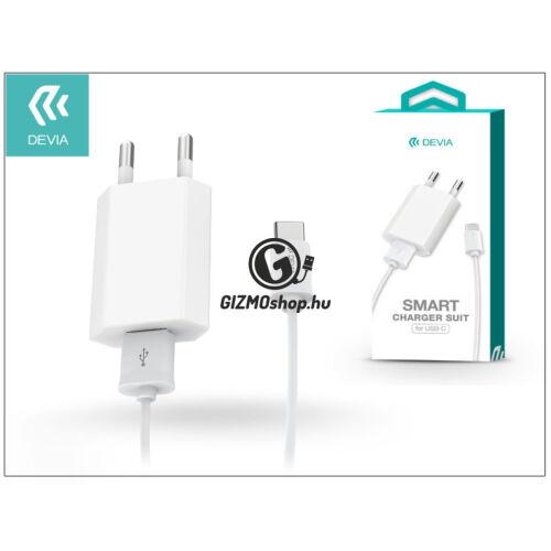 USB hálózati töltő adapter + Type-C adatkábel 1 m-es vezetékkel – 5V/1A – Devia Smart Charger Suit – white