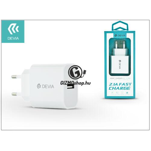 Devia Smart USB hálózati töltő adapter – Devia Smart USB Fast Charge – 5V/2,1A – white