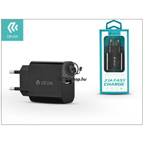 Devia Smart USB hálózati töltő adapter – Devia Smart USB Fast Charge – 5V/2,1A – black