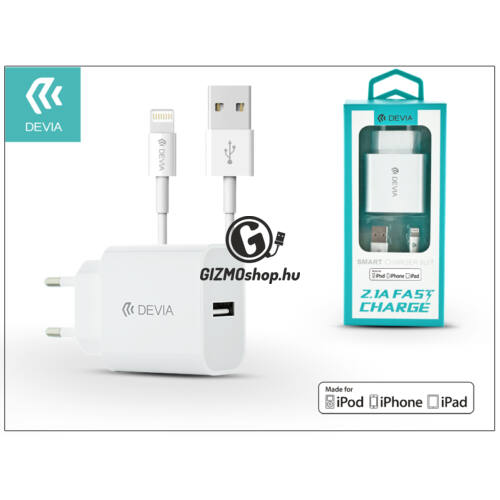 Apple iPhone 5/5S/5C/SE/6S/6S Plus USB hálózati töltő adapter + lightning adatkábel (MFI engedélyes) – 5V/2,1A – Devia Smart Fast Charger Suit – white