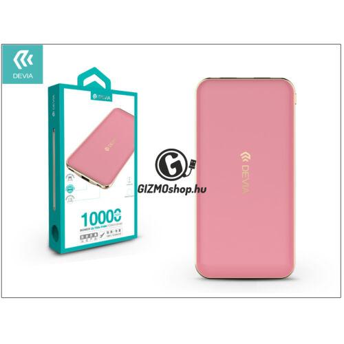 Univerzális hordozható, asztali akkumulátor töltő – Devia Bomer Ultra Thin 2xUSB 2.1A Power Bank – 10.000 mAh – pink