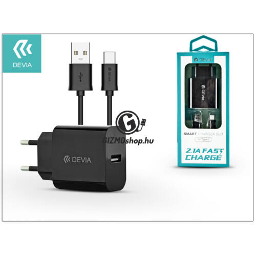 Devia Smart USB hálózati töltő adapter + USB Type-C kábel 1 m-es vezetékkel – Devia Smart USB Fast Charge for Type-C 2.0 – 5V/2,1A – black