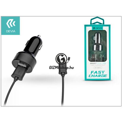 Devia Dual szivargyújtós töltő adapter + USB Type-C kábel 1 m-es vezetékkel – Devia Smart Dual USB Fast Charge for Type-C – 5V/2,4A – black