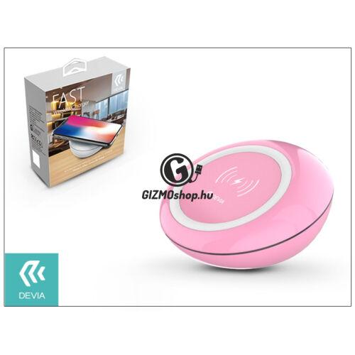 Devia Qi univerzális vezeték nélküli töltő állomás – 5V/2A – Devia Fast Wireless Charger – pink – Qi szabványos