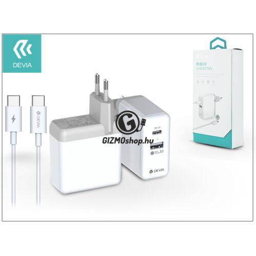 Devia USB hálózati gyorstöltő adapter + USB Type-C kábel – Devia PD Quick Charge Pack QC 3.0 – white
