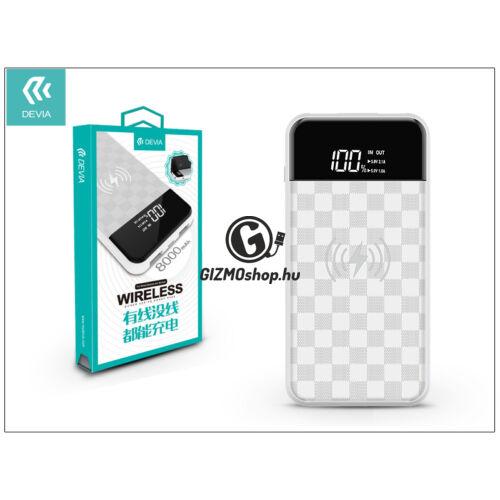Univerzális hordozható, asztali akkumulátor töltő/vezeték nélküli töltő állomás – Devia Ju Wireless 2xUSB 2.1A Power Bank – 8.000 mAh – white
