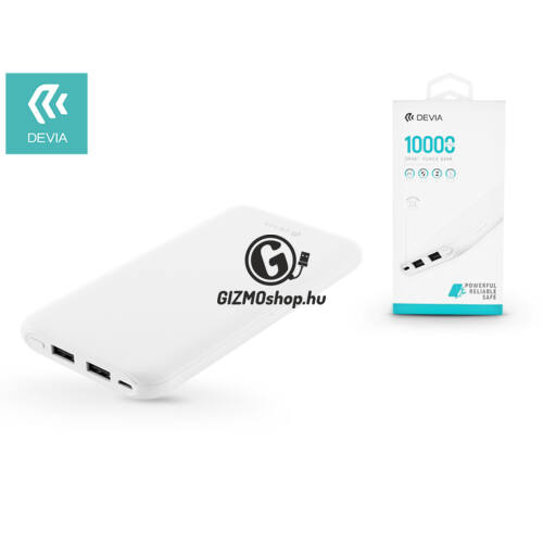 Univerzális hordozható, asztali akkumulátor töltő – Devia Smart 2xUSB 2.1A Power Bank – 10.000 mAh – white