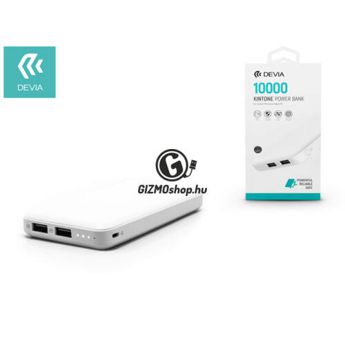 Univerzális hordozható, asztali akkumulátor töltő – Devia Kintone 2xUSB 2.1A Power Bank – 10.000 mAh – white